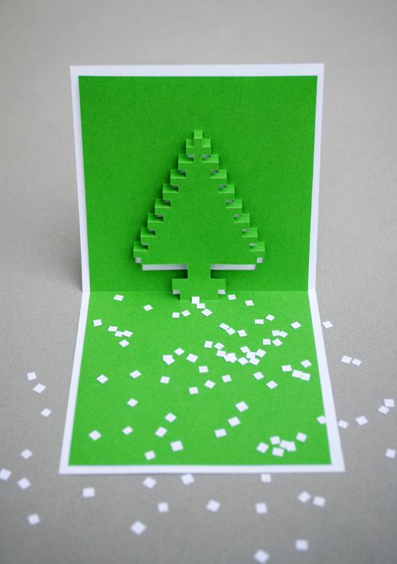 Интересные объемные открытки на новый год