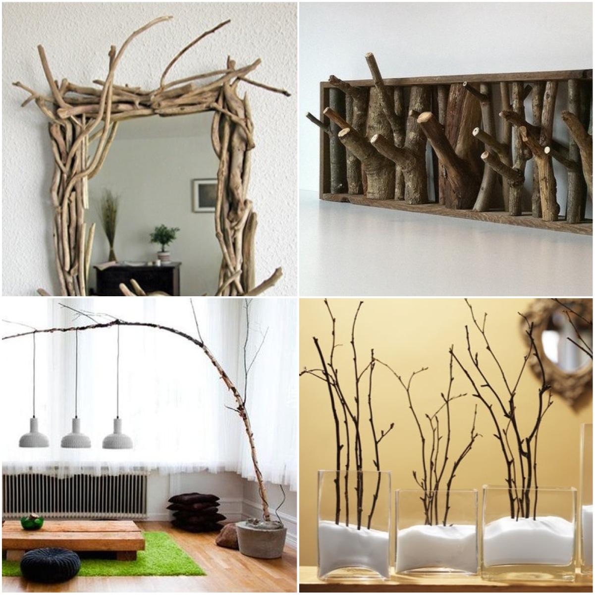 Ветки деревьев в интерьере: оригинальные идеи использования