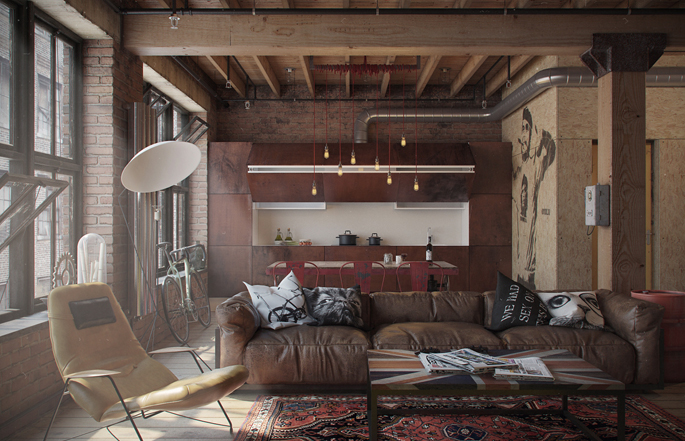 Apartment for a bachelor in the style of Loft