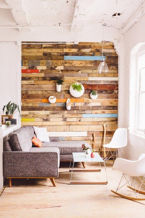 Деревянный стены в интерьере