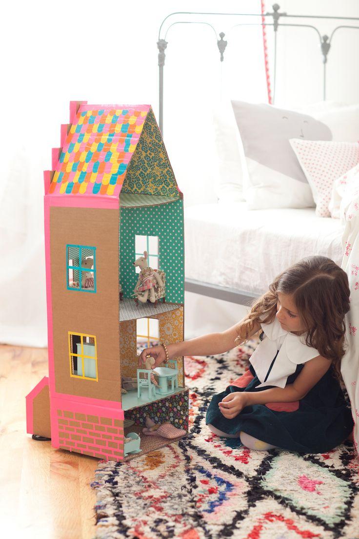 Как сделать дом из картона для игрушек