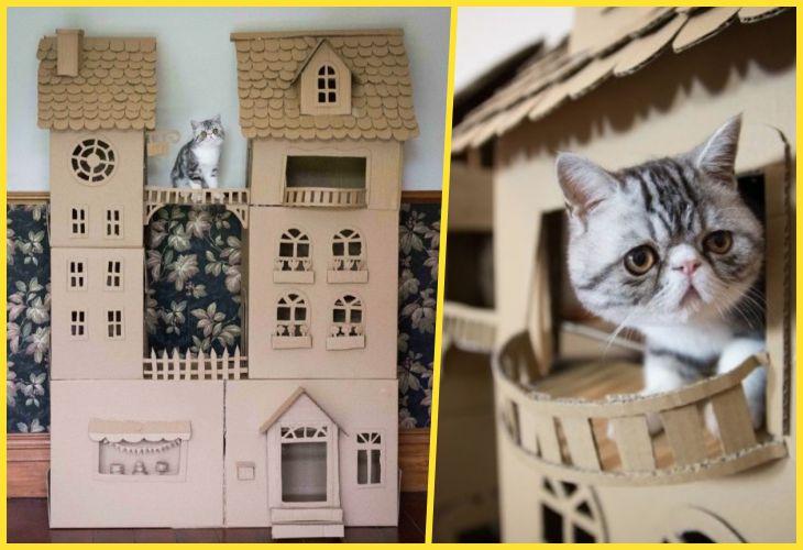 Кошачий домик из коробки своими руками 3