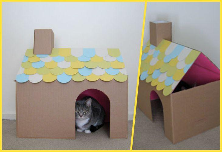 Кошачий домик из коробки своими руками 62