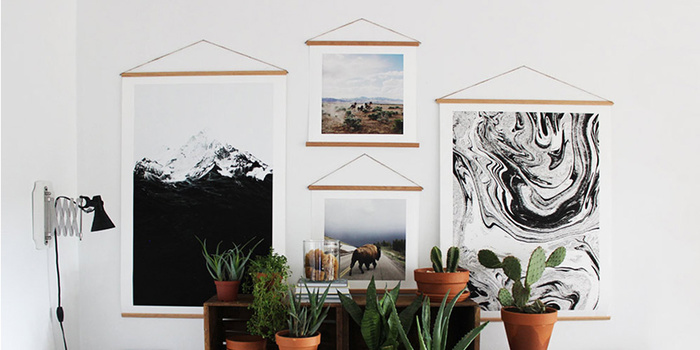 A simple wooden frame for posters and posters