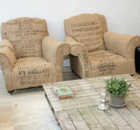 {идея} Винтажные кресла из мешковины