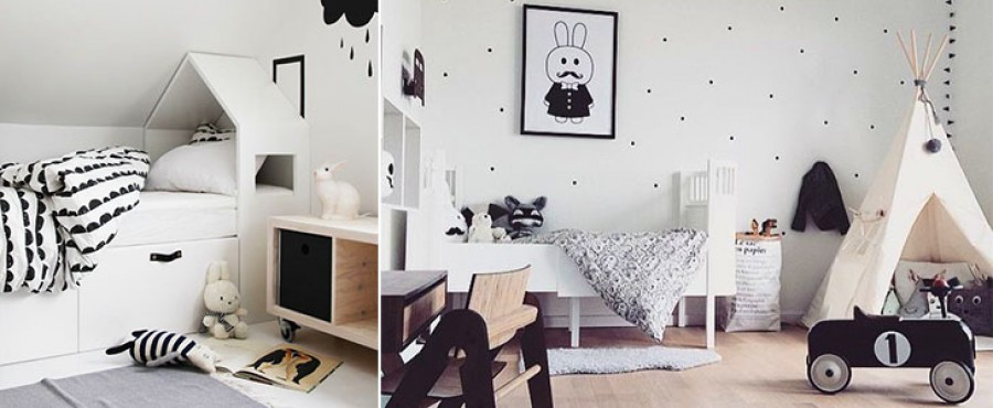 29 Детских комнат в черно-белых цветах