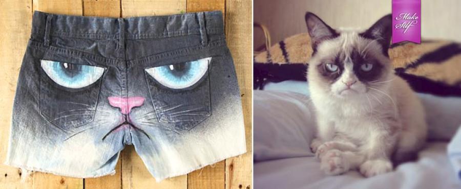 Декорируем шорты в стиле Grumpy Cat