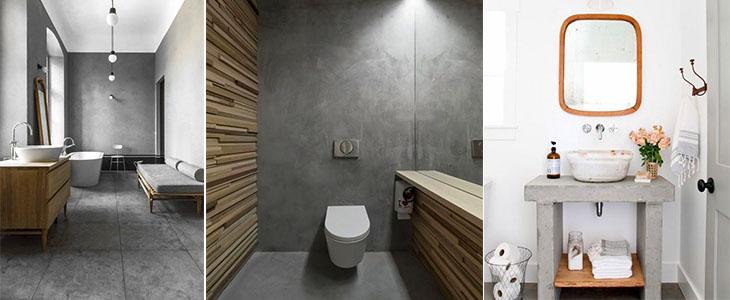 Иcпользование бетона в ванной комнате. ТОП 35