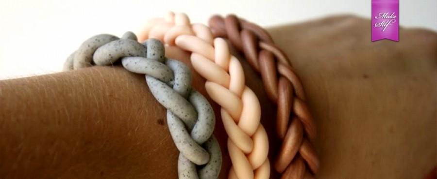 Плетеный браслет с полимерной глины