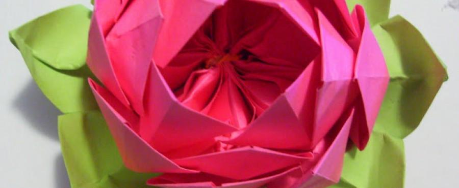 {Оригами} Цветок лотоса из бумаги