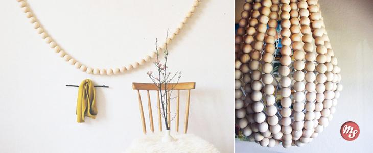 Декорирование с использованием деревянных бусин