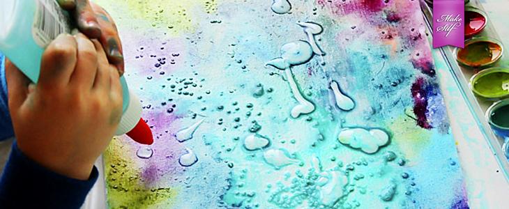 Картина с акварели, клея и соли