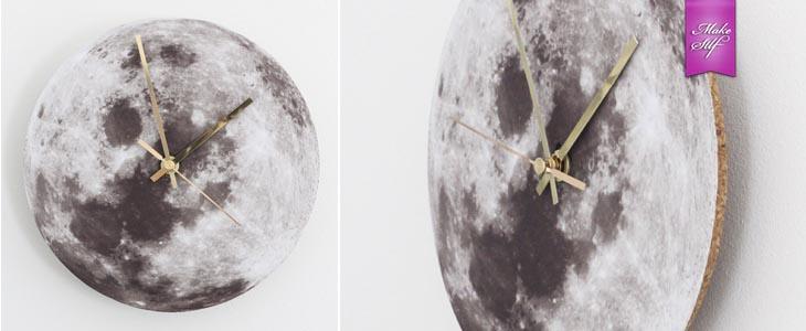 Настенные часы с принтом Луны