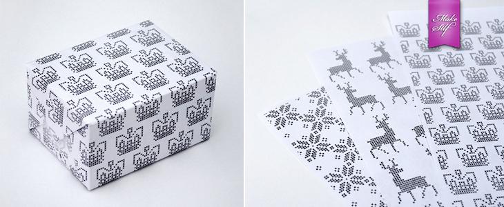 Принт с вышивкой для упаковки подарков