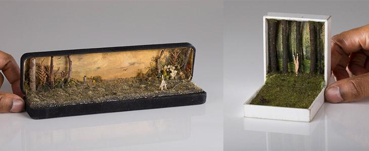 Миниатюрные сцены в шкатулке от канадского художника
