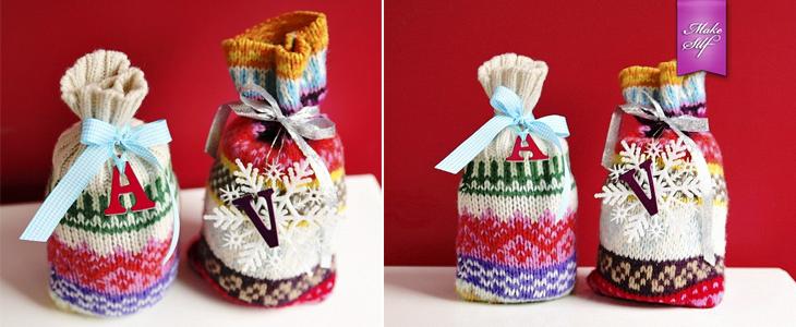 Подарочная упаковка из старого свитера
