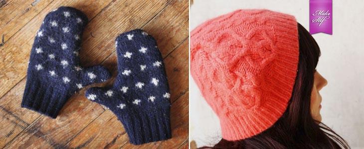 Варежки и шапка из старого свитера
