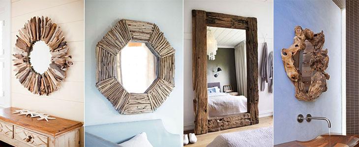 Зеркала с обрамлением из старого дерева. ТОП 20