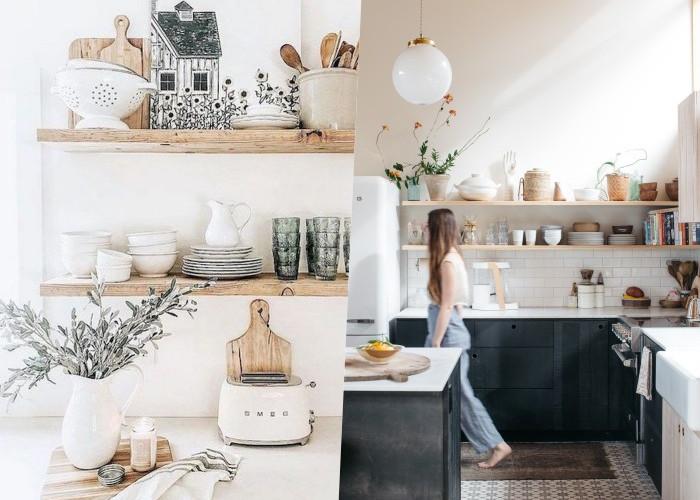 20 Прекрасных идей плавающих полок на кухне