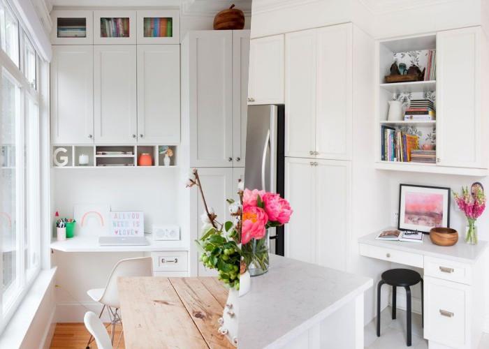 22 Примера домашних офисов на кухне, которые экономят много места