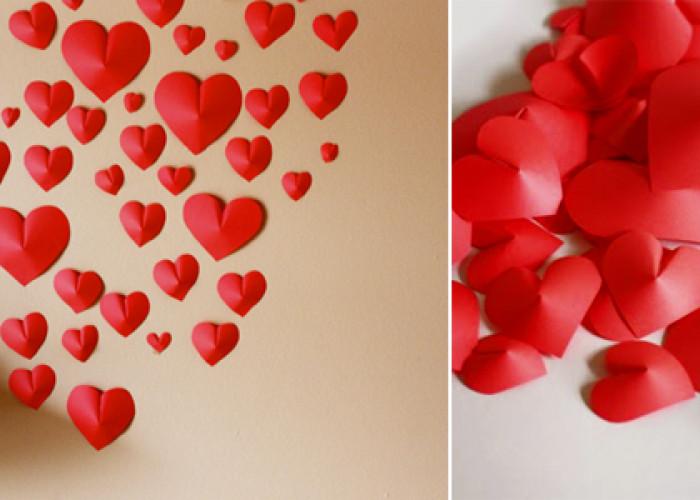 Настенные сердца из бумаги